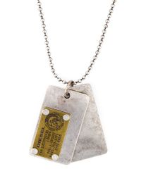 DIESEL - Metallic 'ategi' Dog Tag Necklace for Men - Lyst