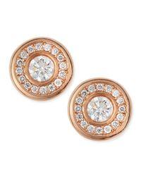 Roberto Coin - Pink 18-Karat Rose Gold Diamond Stud Earrings - Lyst