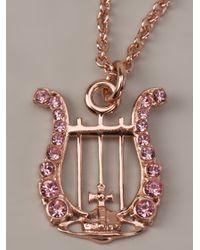 Vivienne Westwood - Pink Calista Lyre Pendant Necklace - Lyst