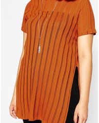 ASOS | Brown T-shirt With Split Sides In Sheer Stripe | Lyst