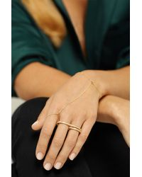 Halleh - Metallic 18-Karat Gold Diamond Two-Finger Ring - Lyst