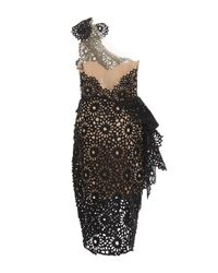 Marchesa - Black One Shoulder Laser Cut Sheath Dress - Lyst