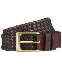 Barbour - Brown Woven Leather Belt for Men - Lyst