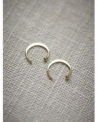 Free People | Metallic Small Ear Hugging Hoops | Lyst