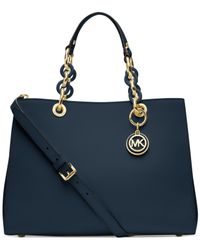 Michael Kors | Blue Michael Cynthia Medium Satchel | Lyst