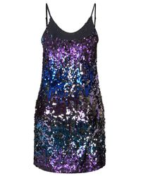 TOPSHOP - Pixie - Blue And Silver Mix Sequin Dress By Wyldr - Lyst