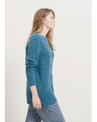 Violeta by Mango - Blue Zip Knit Sweater - Lyst