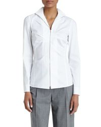 Lafayette 148 New York | White Pleat Front Stretch Poplin Shirt | Lyst
