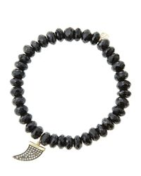 Sydney Evan | 8Mm Faceted Black Spinel Beaded Bracelet With 14K Gold/Diamond Medium Horn Charm (Made To Order) | Lyst