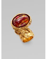 Saint Laurent - Pink Goldtone Arty Ovale Ring for Men - Lyst