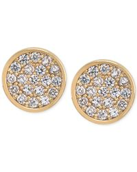 Carolee - Metallic Gold-Tone Round Pavé Stud Earrings - Lyst
