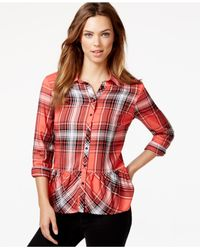 Kensie | Orange Plaid Peplum Shirt | Lyst