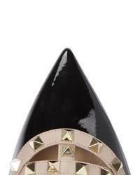 Valentino - Rockstud Black Pointed Patent Flats - Lyst