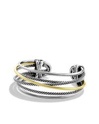 David Yurman - Metallic Crossover Narrow Cuff with Gold - Lyst