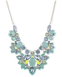 Nine West | Silver-tone Blue Crystal Drama Frontal Necklace | Lyst