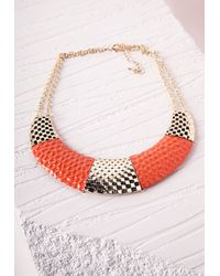 Missguided | Colour Block Bib Necklace Orange | Lyst