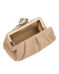 Jimmy Choo | Metallic Cara Nude Suede Clutch Bag | Lyst