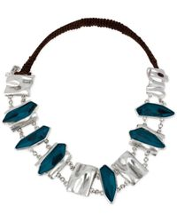 Robert Lee Morris | Blue Silvertone Faceted Bead Frontal Necklace | Lyst
