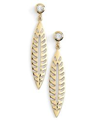 Rebecca Minkoff | Metallic Leaf Drop Earrings | Lyst