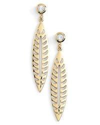 Rebecca Minkoff - Metallic Leaf Drop Earrings - Lyst