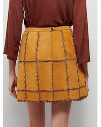 Free People - Yellow Piece Out Suede Mini Skirt - Lyst