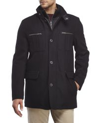Cole Haan | Black Wool-Blend Coat With Bib for Men | Lyst