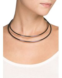 Mango - Black Metal Double Choker - Lyst