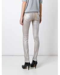 Emporio Armani   Natural Distressed Skinny Jeans   Lyst