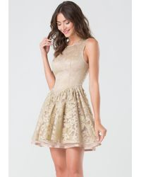 Bebe - Natural Metallic Embroidered Dress - Lyst