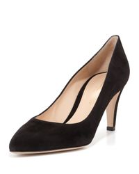 Gianvito Rossi - Black Mid-Heeled Suede Pumps - Lyst