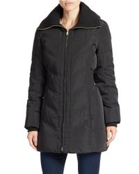 Cole Haan | Black Quilted Zip Front Jacket | Lyst