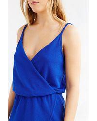 Kimchi Blue | Blue Drapey Surplice Skort Romper | Lyst