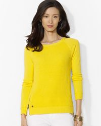 Ralph Lauren | Yellow Crew Neck Sweater with Hem Zip | Lyst