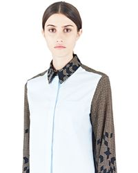 Preen By Thornton Bregazzi - Women's Houndstooth Ann Shirt In Blue - Lyst