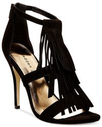 Madden Girl - Black Demiiii Fringe Dress Sandals - Lyst
