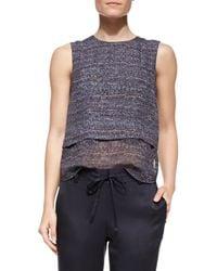 Theory - Blue Multi Tweed-Print Hodal C Silk Top - Lyst