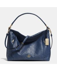 COACH - Blue Scout Hobo In Python Embossed Leather - Lyst