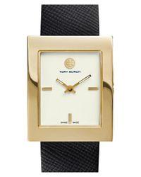 Tory Burch - Metallic 'buddy Classic' Rectangular Saffiano Leather Strap Watch - Lyst