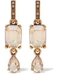 Oscar de la Renta | Metallic Gold-plated Crystal Earrings | Lyst