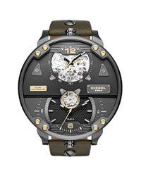 DIESEL Metallic Dual Time Automatic Leather Strap Watch for men
