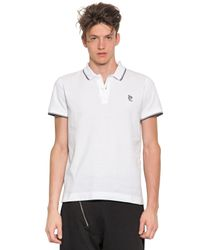 McQ - White Logo Embroidered Cotton Piqué Polo for Men - Lyst