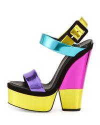 Giuseppe Zanotti | Purple Metallic Leather High-Heel Sandal | Lyst