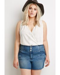 Forever 21 - Blue Faded High-waisted Denim Shorts - Lyst