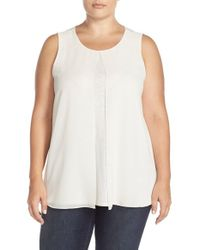 Ellen Tracy - White Georgette Overlay Shell - Lyst