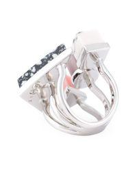Eshvi - Metallic Geometric Shapes Ring - Lyst