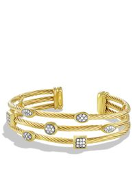 David Yurman | Metallic Confetti Three-Row Cuff With Diamonds In Gold | Lyst
