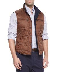 Brunello Cucinelli | Blue Reversible Snap-front Vest for Men | Lyst
