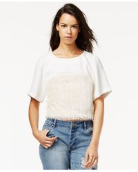 RACHEL Rachel Roy | White Fringe-trim Top | Lyst