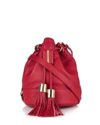 See By Chloé | Red Vicki Grained-leather Mini Bucket Bag | Lyst