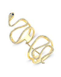 Anne Sisteron | 14kt Yellow Gold Blue Sapphire Diamond Snake Connector Ring | Lyst